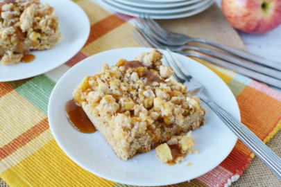 Salted Caramel Apple Bars Made with Cake Mix