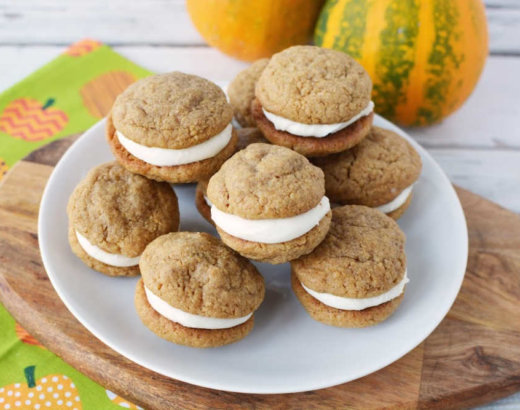 Easy Pumpkin Sandwich Cookies with Cream Cheese Filling