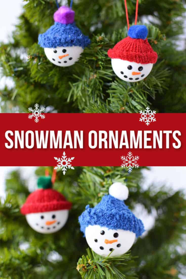Make a DIY snowman craft ornament using fuzzy gloves and ping pong balls plus a few basic craft supplies.