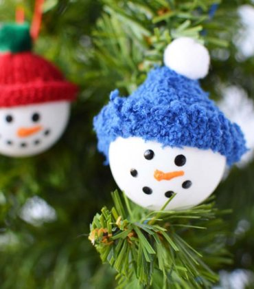 Ping Pong Snowman Craft Ornament