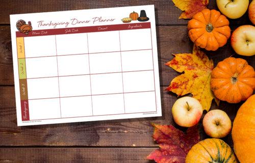 Free Printable Thanksgiving Cooking Planner