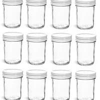Nakpunar 12 pcs, 8 oz Mason Jars with White Lids