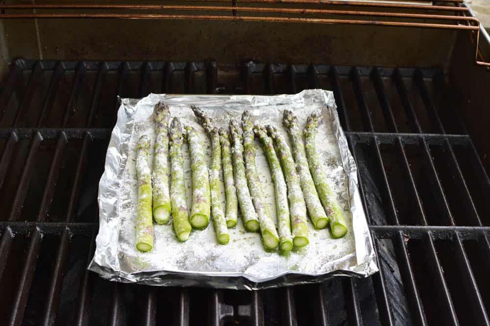 Asparagus on foil on a grill