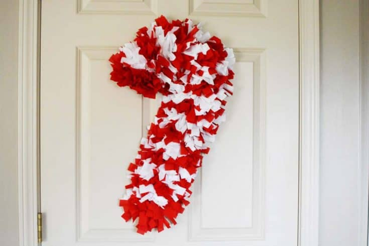 Scrap Fabric Candy Cane Tie Wreath