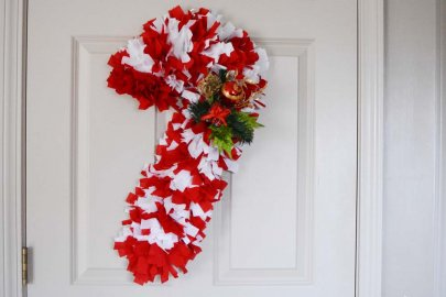 Fabric Candy Cane Wreath