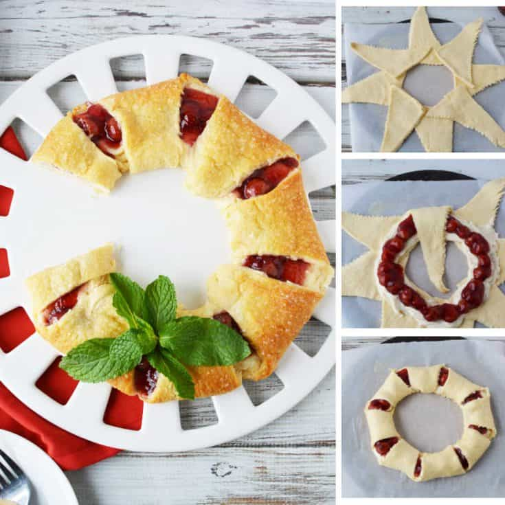An easy cheese danish recipe made with canned crescent rolls and a cream cheese filling. Make into a fest wreath for Christmas morning! #ChristmasBreakfast #ChristmasRecipe #BreakfastRecipes
