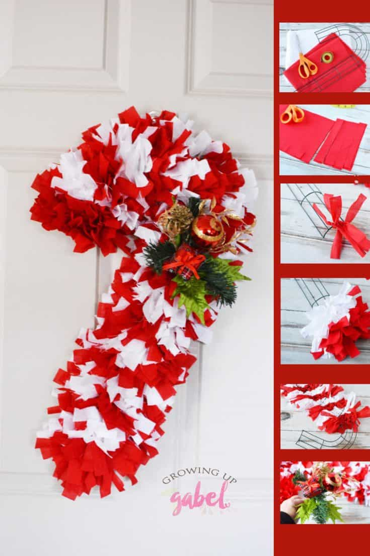 Tie red and white fabric onto a wire candy cane wreath form to make a festive holiday wreath! #ChristmasCrafts #ChristmasWreaths #CandyCanes