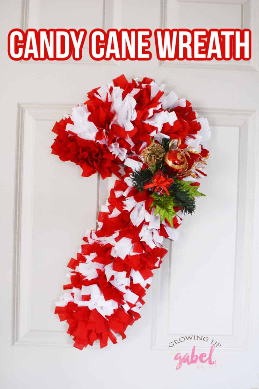 Fabric Candy Cane Wreath