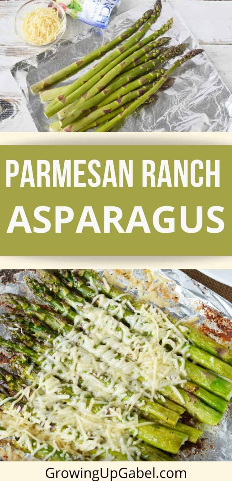 Uncooked asparagus and grilled asparagus with Parmesan cheese and Ranch dressing mix