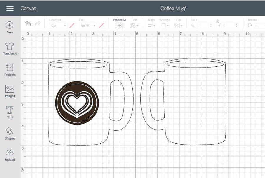Cricut design space mug template with heart image