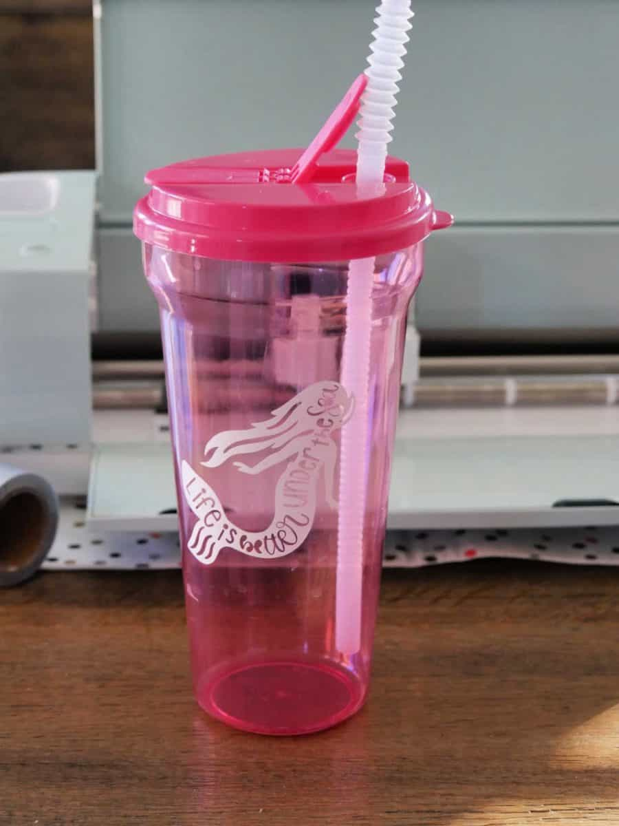 Pink water bottle with mermaid