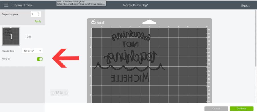 Cricut Design Space mirroring option