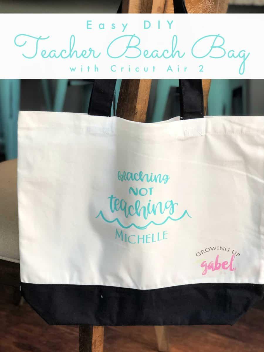 personalized beaching not teaching cream tote bag