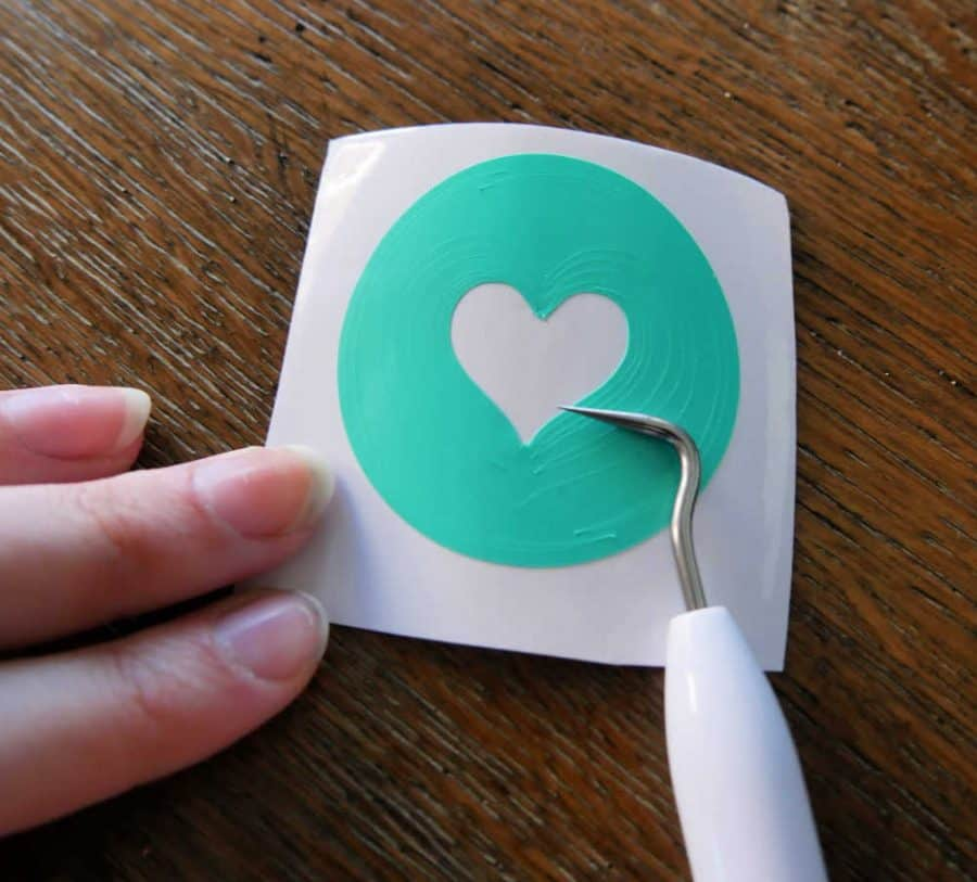 Cricut weeding tool with heart sticker