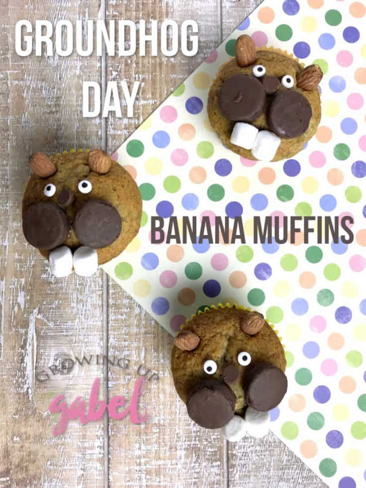 Make homemade banana bread muffins in to adorable groundhogs for Groundhog Day on February 2nd.