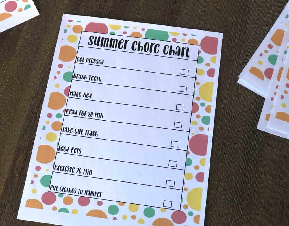 summer chore chart for kids with colorful polka dots