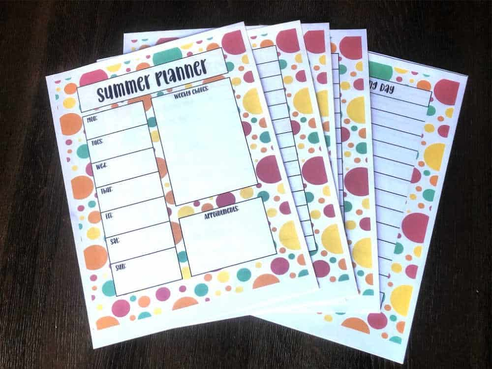summer planner for kids with colorful polka dots