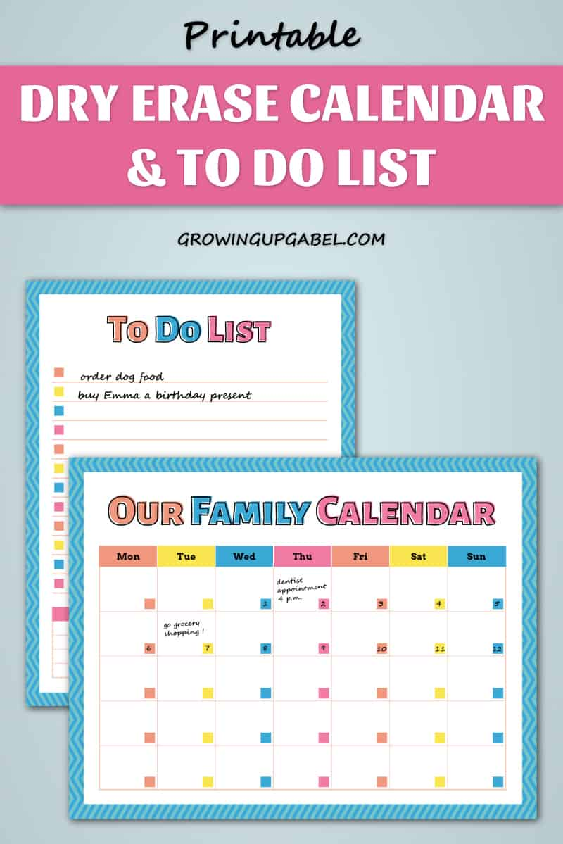Graphic of DIY Erase calendar and to do list