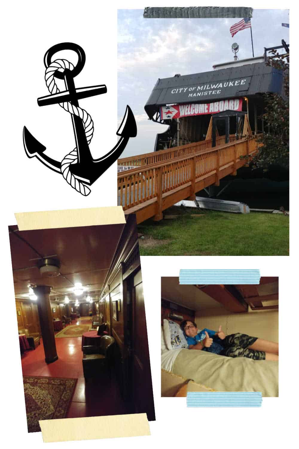 Picture collage of the fun hotel SS Milwaukee boatel in Manistee Michigan