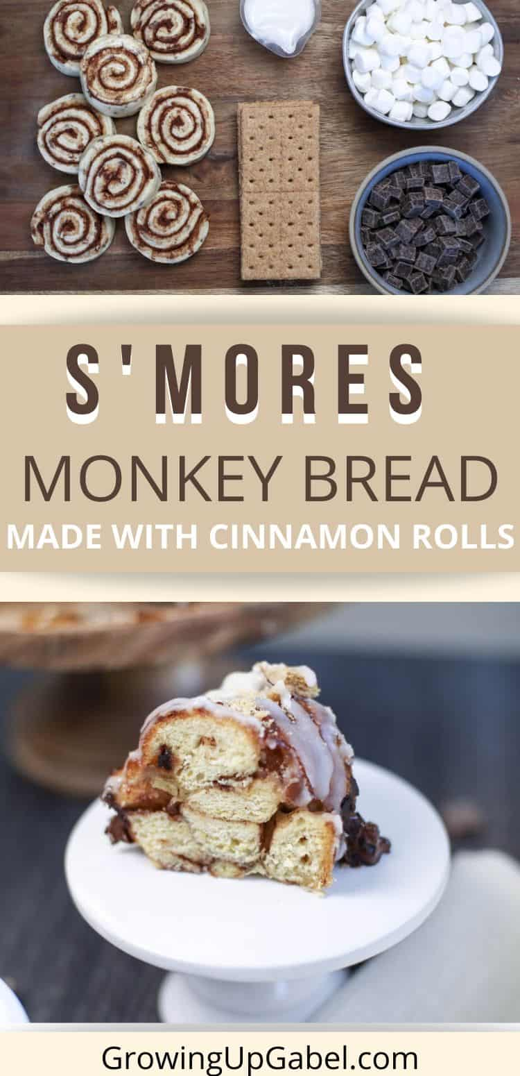 Ingredients for s'mores monkey bread above a photo of a piece of s'mores monkey bread
