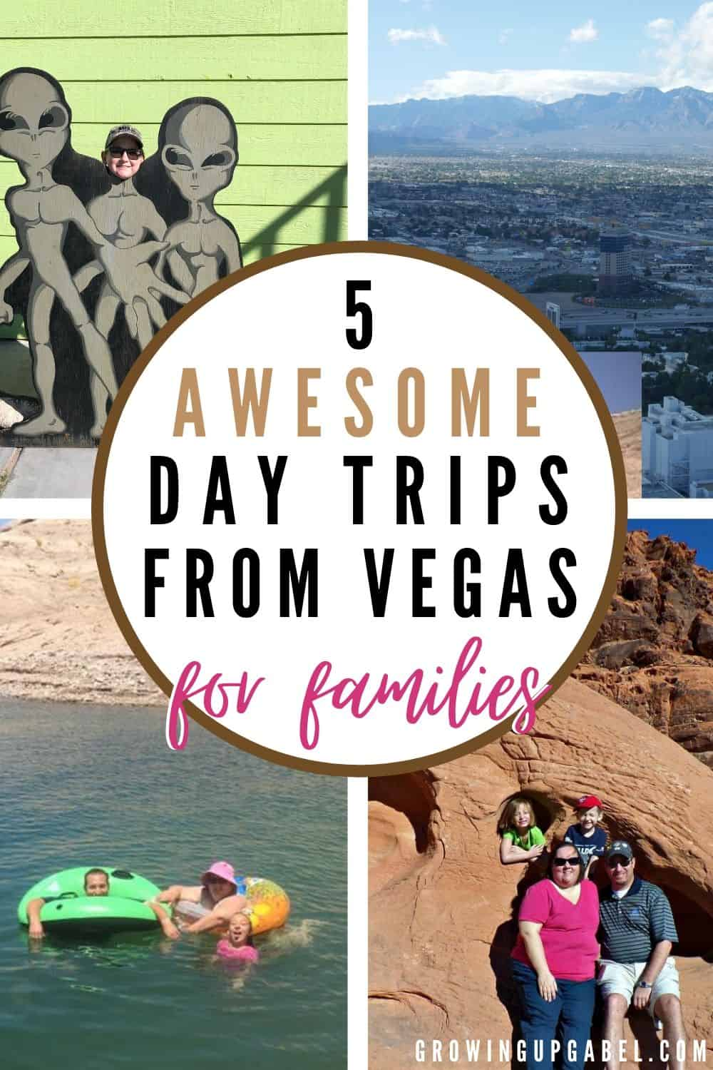 a collage of photos of family day trips from las vegas