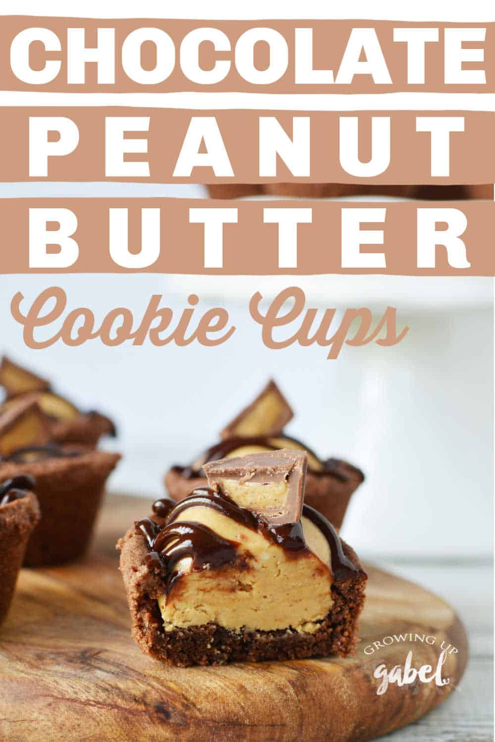 chocolate cookie cup with peanut butter filling cut open