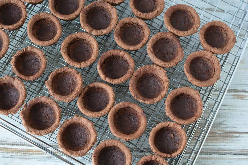 Empty mini chocolate cookie cup shells
