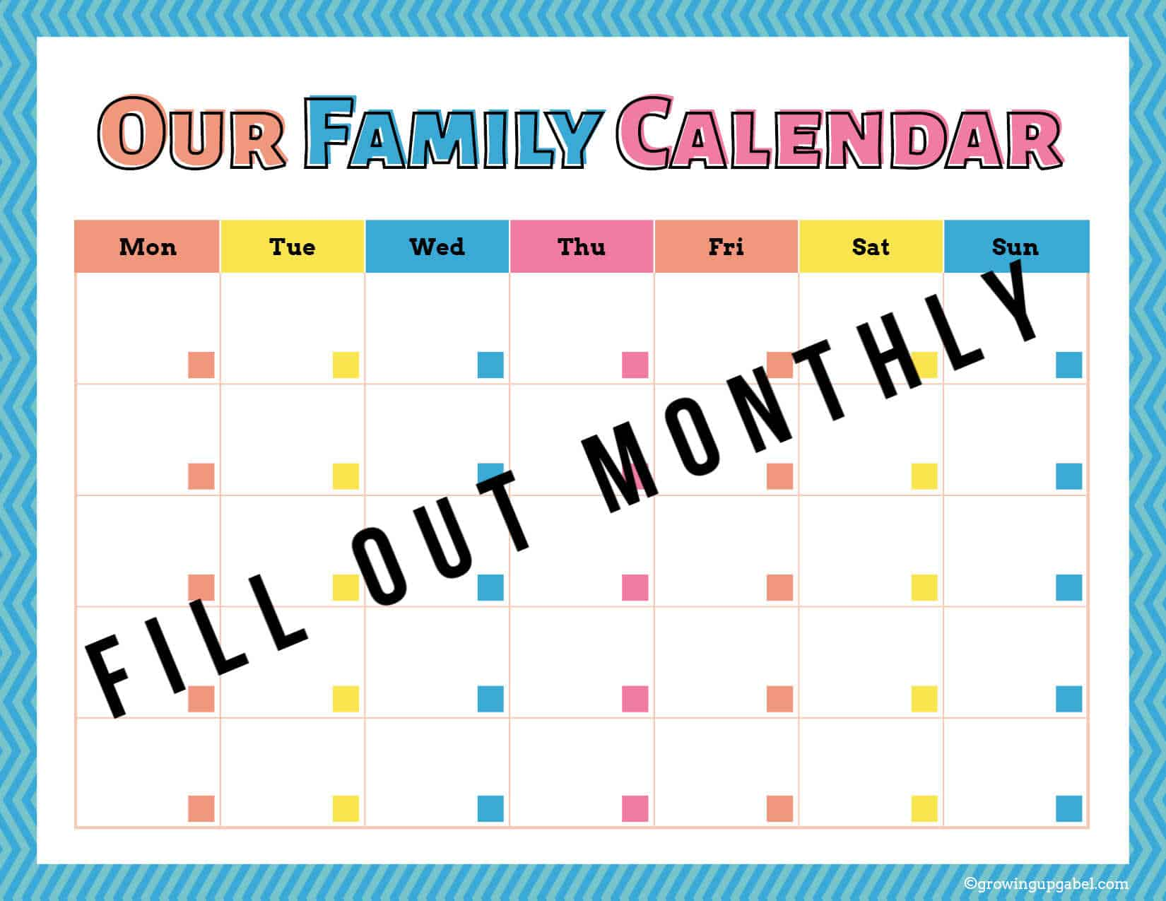 Our Family Calendar printable calendar