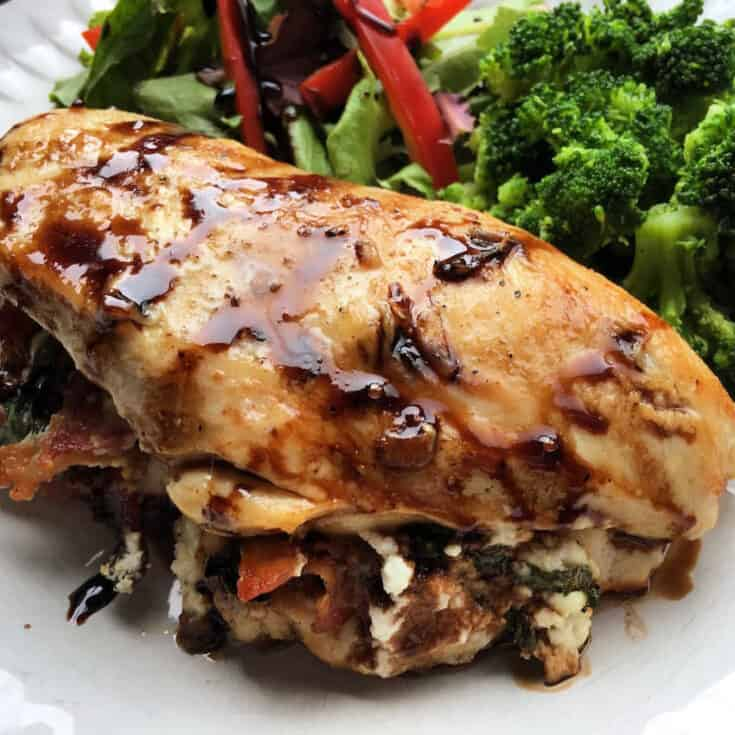 Bacon, Goat Cheese & Basil Baked Stuffed Chicken Breasts with Balsamic Glaze