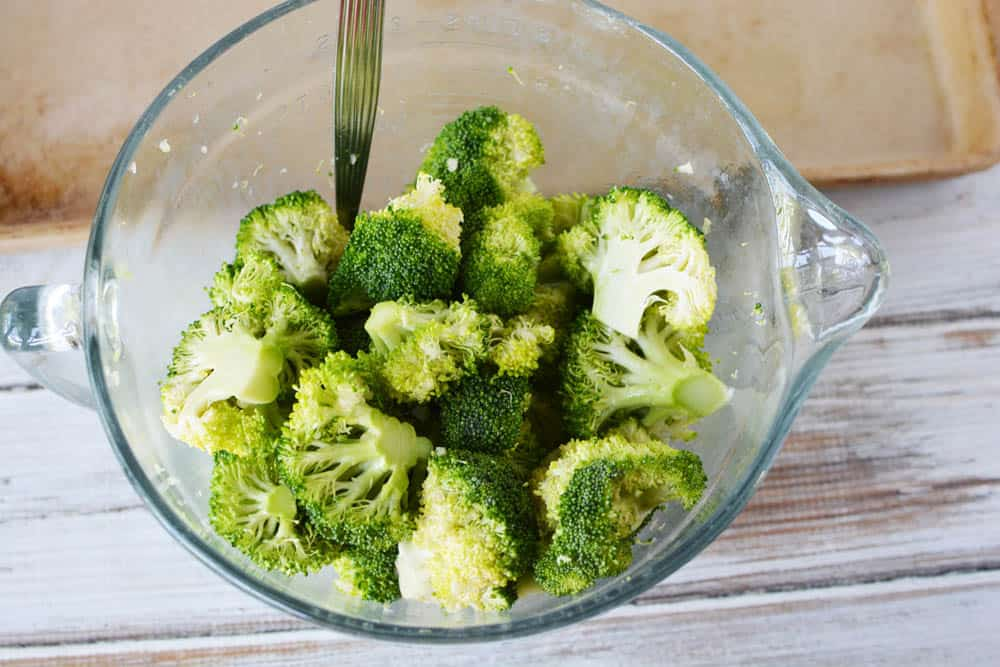 Broccoli in a mixing bowl
