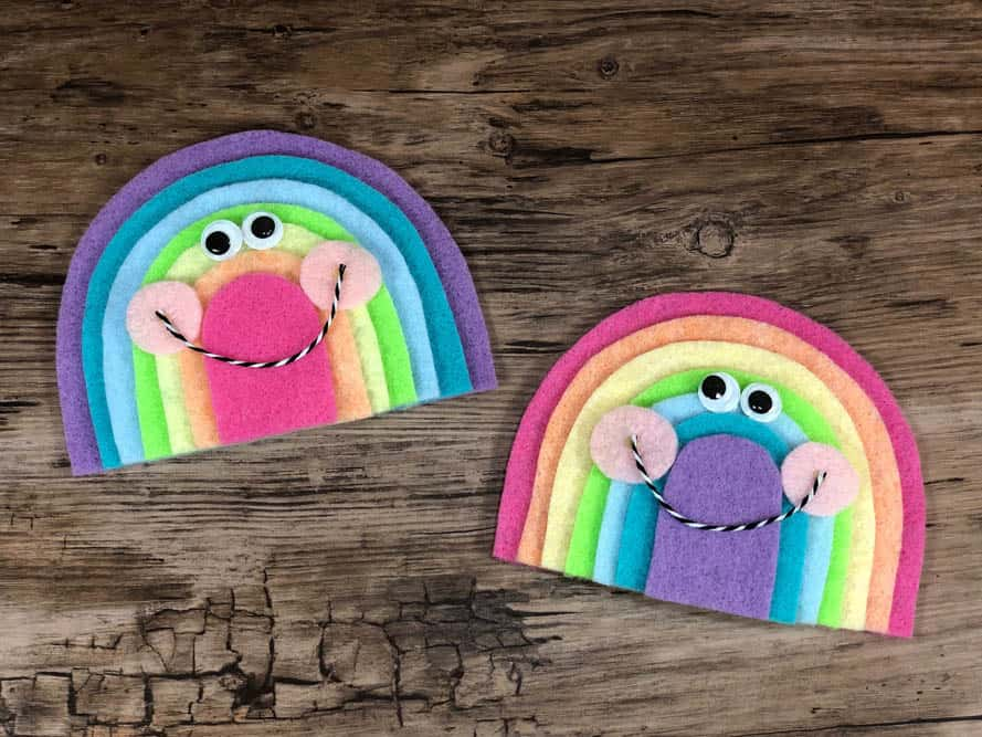 two felt rainbows in opposite colors