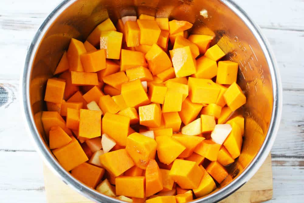 diced butternut squash in the instant pot.