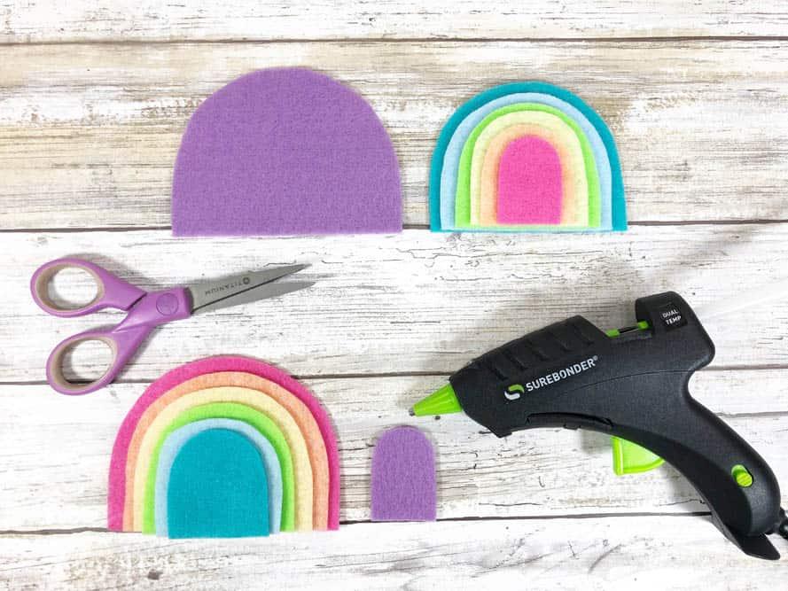 hot gluing a felt rainbow together