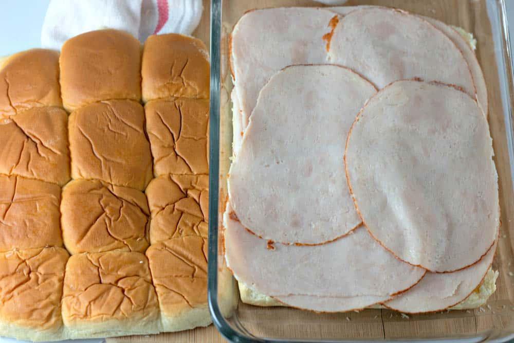 sliced turkey on sweet Hawaiian dinner rolls