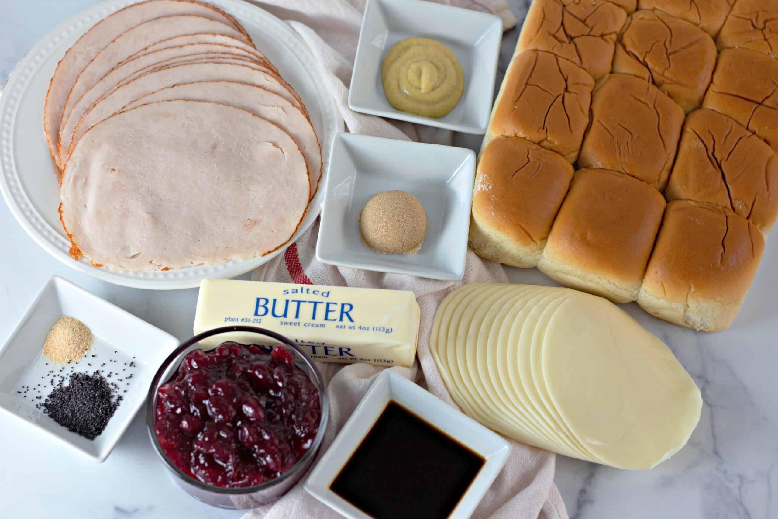 ingredients for turkey sliders