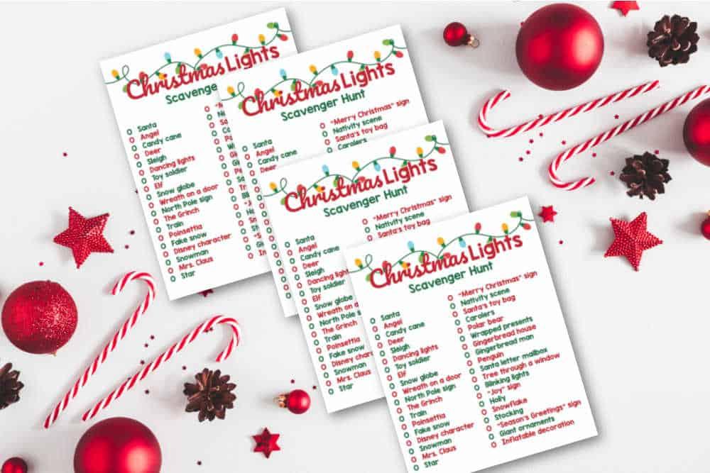 Christmas lights scavenger hunt lists