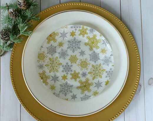 Decoupage Christmas Fabric Plates with Mod Podge