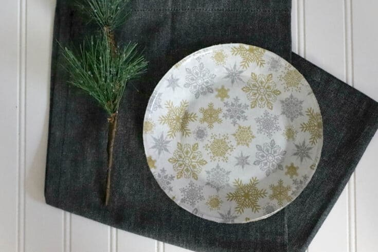 Decoupage Christmas Fabric Plates with Mod Podge