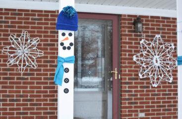 Snowman Front Porch Pillar Decorations