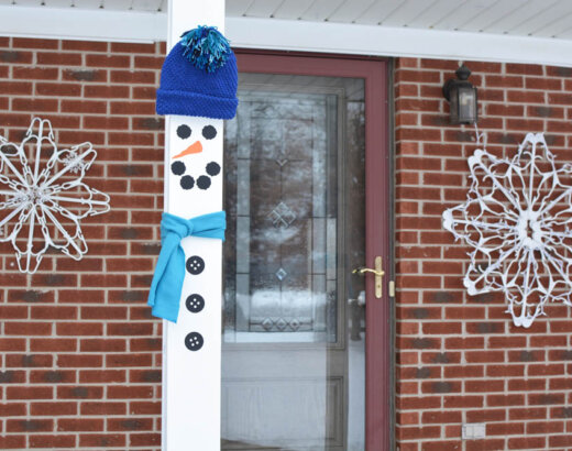 Snowman Front Porch Pillar Decorations