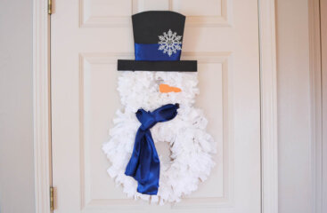 DIY Snowman Rag Wreath