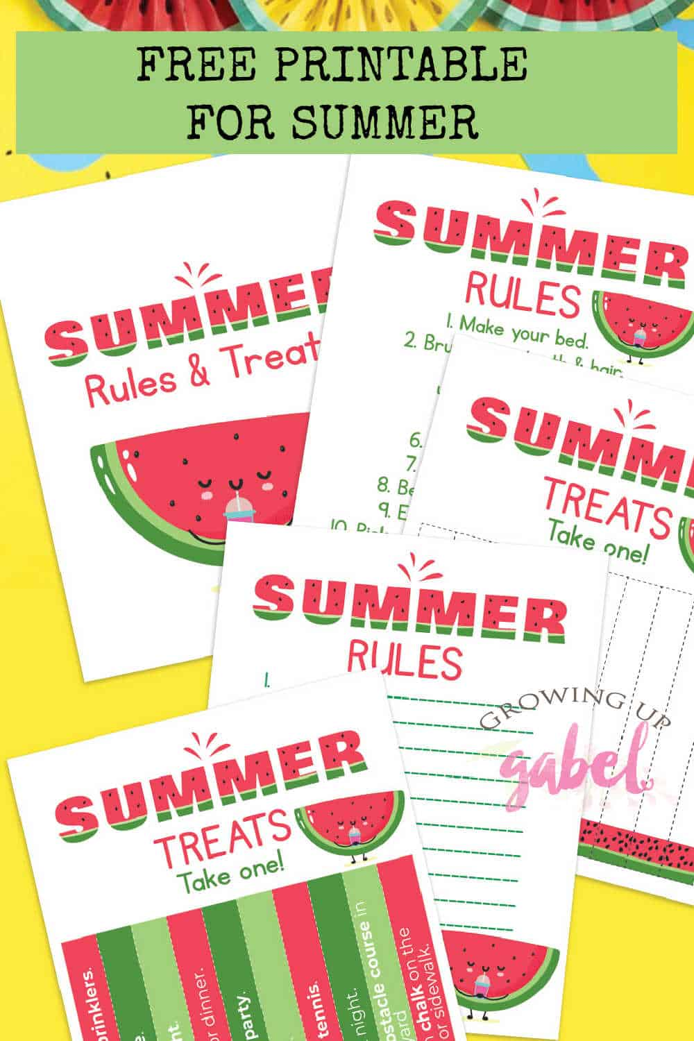 summer rules and summer treats printable with watermelons